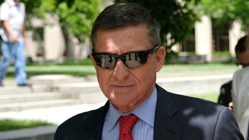 In this June 24, 2019, file photo, President Donald Trump's former National Security Adviser, Michael Flynn, leaves the E. Barrett Prettyman U.S. Courthouse in Washington, DC.