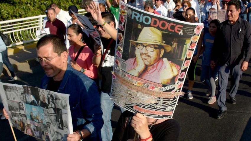 Protesta por el asesinato del periodista Javier Valdez.