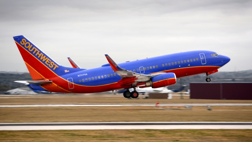 A Southwest Airlines Boeing 737 passenger jet takes off from San Antonio International Airport in Texas.