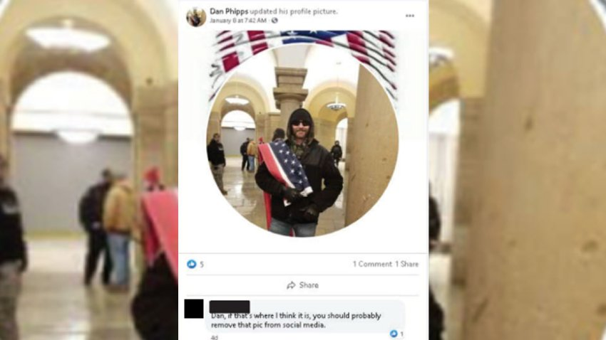 The FBI entered this photo found on social media into evidence as part of a criminal complaint against Daniel Phipps. Investigators say Phipps posted images on social media after going to the U.S. Capitol.