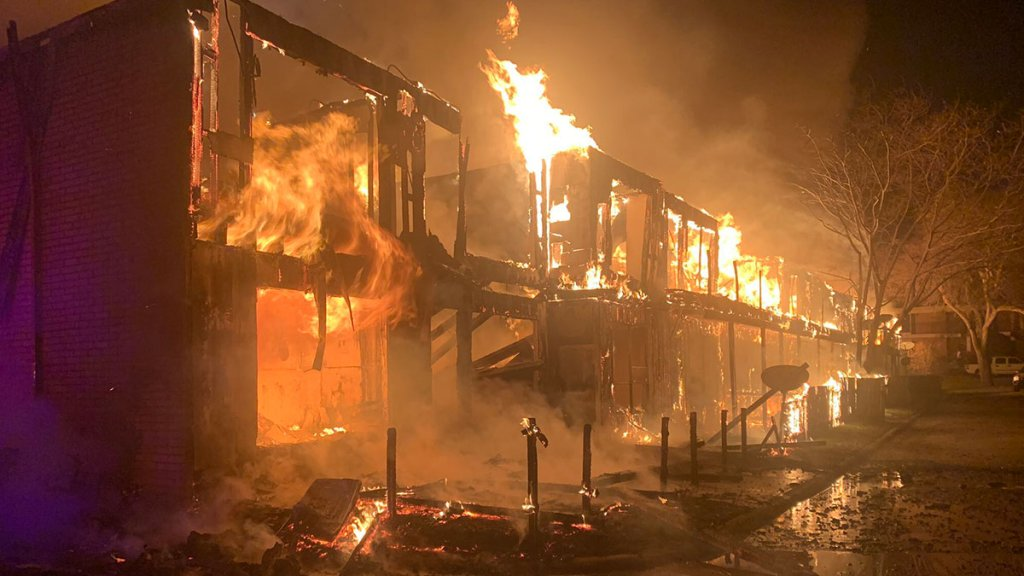 At least one person has been hurt in a large apartment fire in Fort Worth Friday night. Firefighters were called to the Colonial Apartments in the 5000 block of Ridglea Lane just before 8 p.m.