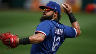 Rougned Odor #12 of the Texas Rangers warms up prior to the MLB spring training baseball game against the Los Angeles Dodgers at Surprise Stadium on March 7, 2021 in Surprise, Arizona.