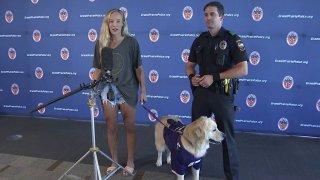Makenzie Koch Riggins and officer gray