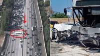 El aparatoso accidente involucró al menos dos autos y un autobús que se estrelló contra el divisor central de concreto.