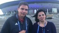 Erik Mora de Telemundo 39 y Silvana Pagliuca del periódico ''Al Día'' y colaboradora de Telemundo 39 desde Rusia.