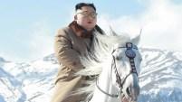 La propaganda norcoreana ensalzó la figura del líder del régimen, sobre un caballo blanco.