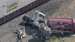 Camión choca contra tren en el condado Denton