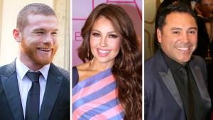 Canelo y De La Hoya quieren que Thalía cante el himno de México