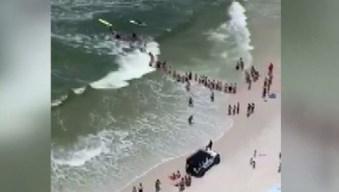 Cadena humana: arriesgan su vida para salvar a nadadores atrapados