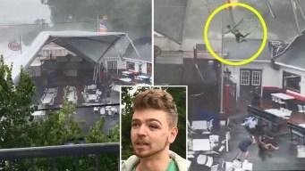 Video: viento arranca un toldo y hace volar a un joven