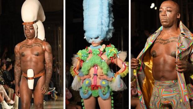 Alocados diseños y senos al aire marcan un extravagante desfile de modas