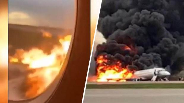 Horrendas imágenes desde adentro del avión que se quemó en Rusia