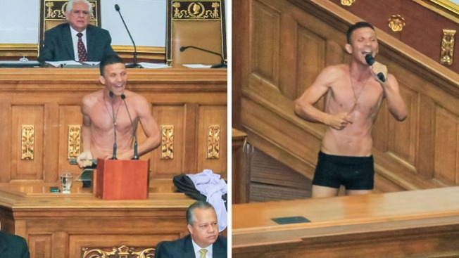 Venezuela: diputado se quita la ropa en pleno Parlamento