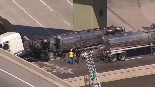 Volcadura de camión con diesel provoca caos vial en Dallas