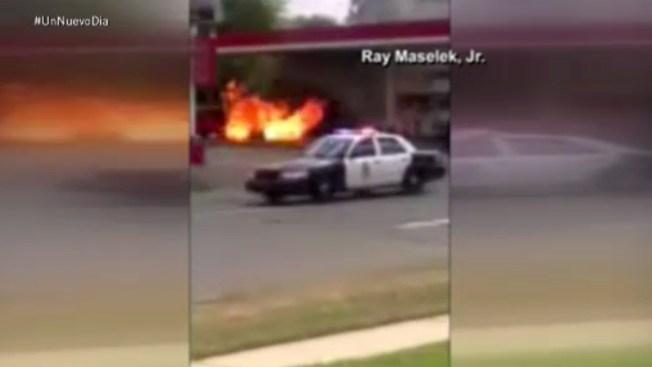 En video: choque e incendio en gasolinera