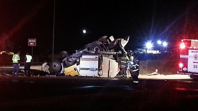 Se volcó camión barrendero